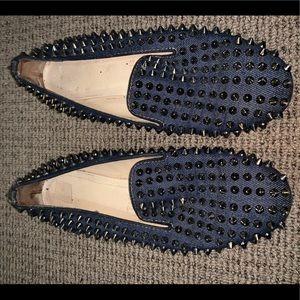 Christian Louboutin Denim Rollerboy Spike loafers